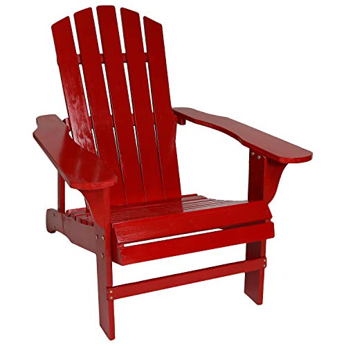Sunnydaze Classic Outdoor Wooden Adirondack Patio Chair, Red