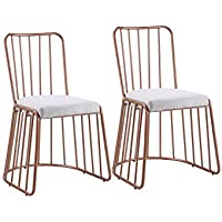 Dining Chairs Set of 2, Fabric Side Chair for Living Room 2 Pieces (Grey / Rose Gold)