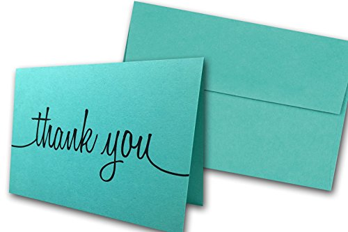 (Thank You Note Cards & Envelopes - 25 cards and envelopes (Blue Raspberry (Aqua)))