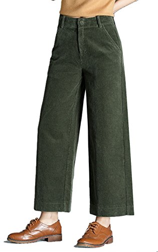Gihuo Women's Retro Wide Leg Casual Corduroy Pant with Pockets (Green, Small)