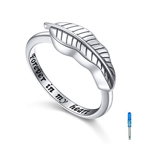 Sterling Silver Feather Cremation Urn Ring Hold Loved Ones Ashes for Women Leaf Finger Ring Memorial Jewelry Size 5
