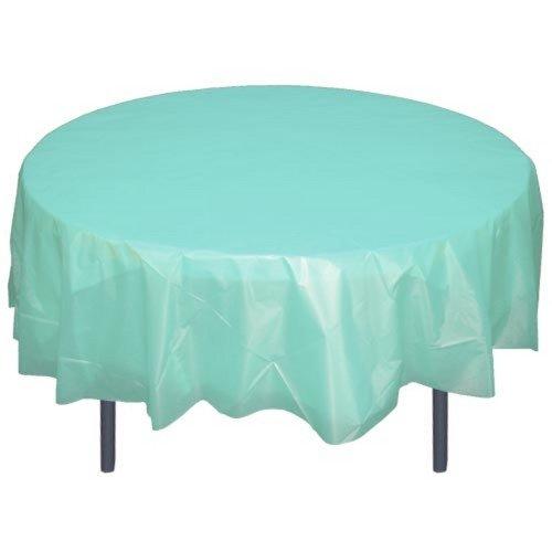 - 6-Pack Premium Plastic Tablecloth 84in. Round Plastic Table cover - Aqua...
