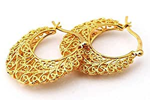 18k Real Gold Plated Excellent Craft Hollow Flowers Hoop Earrings