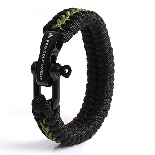 (The Friendly Swede Paracord Bracelet with Microcord and D-Shackle - Adjustable Size (Army Green Medium))