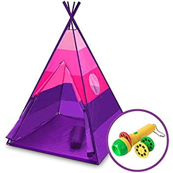 "USA Toyz Happy Hut"" Kids Teepee Tent with Safari Projector Light + EZ Pack Play Tent Tote for Kids Tent (Pink)"