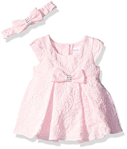 Sweet Heart Rose Little Girls Textured Knit Pleated Dress and Headband, Pink, 3-6 Months