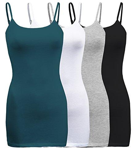 - ShezPretty 4 Pack - Women's Basic Cami with Adjustable Spaghetti Straps Tank Top (3XLarge, Green Teal/White/Black/H.Grey)