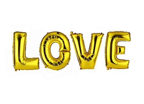 OVE Alphabet Letters Balloons Foil Balloons Mylar Balloons Wedding Party Decoration Balloons, Gold ()
