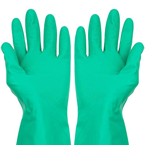 ThxToms Nitrile Chemical Resistant Gloves, Resist Household Acid, Alkali, Solvent and Oil, Latex Rubber Free, 1 Pair Small (Gloves Chemical Green)