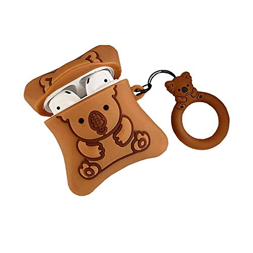 ICI-Rencontrer Creative Cartoon Bear Pattern Cute Pillow Design Airpods Case Kids Girls Women AirPods Accessories Wireless Charging Headset Soft Silicone Shockproof Protector With Decoration Brown