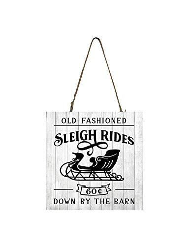 (YANNN Old Fashioned Sleigh Rides Printed Wood Christmas Ornament Small Sign - 12x12 inch)