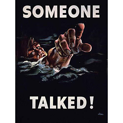 Wee Blue Coo Propaganda WWII War Someone Talked Sailor USA Unframed Wall Art Print Poster Home Decor ()