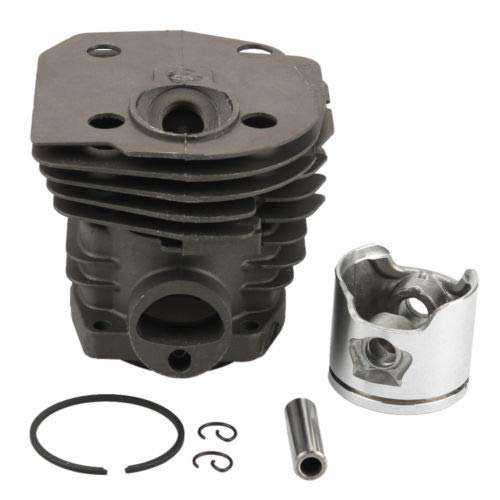 WANWU 44mm(Low) Cylinder Head Piston Rebuild Kit Ring Pin Clips Assembly for Husqvarna 346XP 350 351 353 Chainsaw