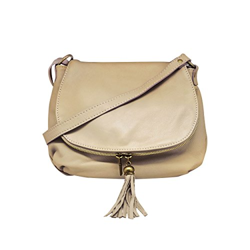 bag Crossbody shoulder SMALL compartment in leather bag light Saddle zipper calfskin OLGA two soft taupe Italy Made leather 6dFUw7xq