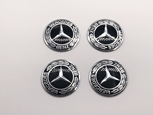(AOWIFT 3D Steering Wheel Badge Emblem Sticker for Mercedes-Benz New Logo Black 56mm)