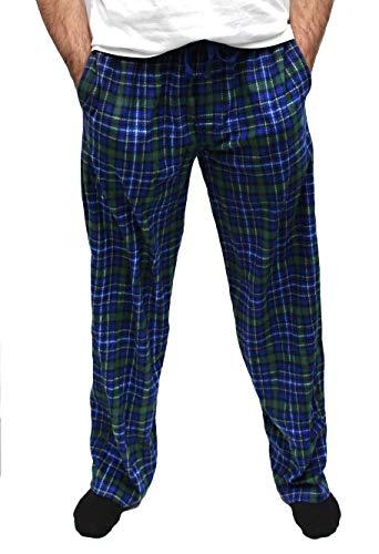 (Fruit of the Loom Men's Fleece Sleep Pant (XL, Green Plaid))