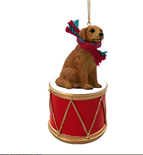 GOLDEN-RETRIEVER-Dog-sits-on-DRUM-wscarf-Christmas-Ornament-DRD09