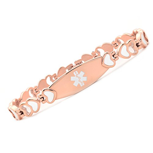 Noble Rose gold Heart Medical id bracelet for women free engraving(6.5) Gold Medical Id Jewelry