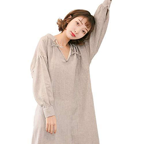 Otoño Las De Dormir Mujeres Casuales Camisón Larga Chemise Pijama Cómodo Señoras V Manga Ropa Cuello Suelta Gris En Con TFwnxxRq