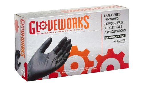 AMMEX - BINPF49100 - Industrial Nitrile Gloves - Gloveworks - Disposable, Powder Free, 5 mil, XXL, Black (Case of 1000) by Ammex