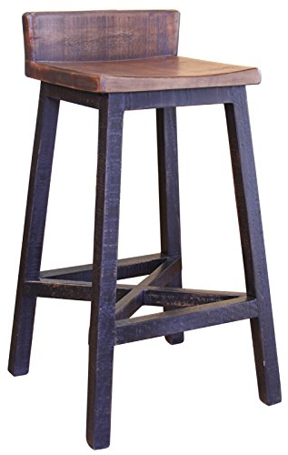 Anton Farmhouse Solid Wood Distressed Black 30 inch Breakfast Bar Stool Review