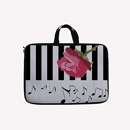 "3D Printed Double Zipper Laptop Bag,Piano with Musical Notes Romantic Instrumental,10 inch Canvas Waterproof Laptop Shoulder Bag Compatible with 9.7""10.1"" 10.6""inch Laptop."