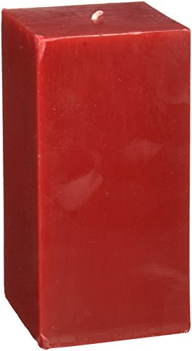 (Zest Candle Pillar Candle, 3 by 6-Inch, Red Square)