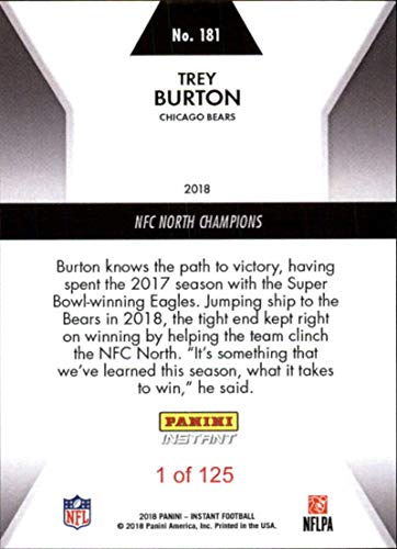 70961a4a Amazon.com: 2018 Panini Instant Football #181 Trey Burton Chicago Bears NFC  North Champions: Collectibles & Fine Art