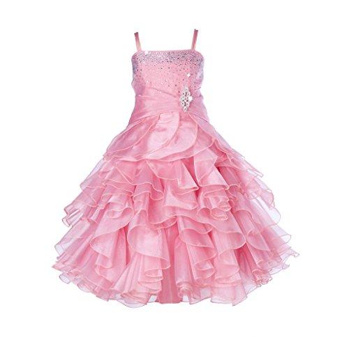 ekidsbridal Elegant Stunning Rhinestone Organza Pleated Ruffled Flower Girl Dress 164s 4 ()