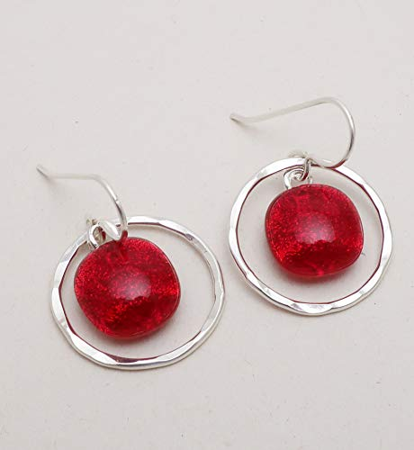Sterling silver hammered hoops and fused translucent bold bright red dichroic glass earrings