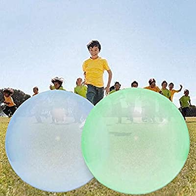 Long&Teng 2 Pcs Bubble Balloon Transparent Bounce Ball Inflatable Fun Toy Ball for Outdoor Indoor Play (Random Color) Large: Toys & Games