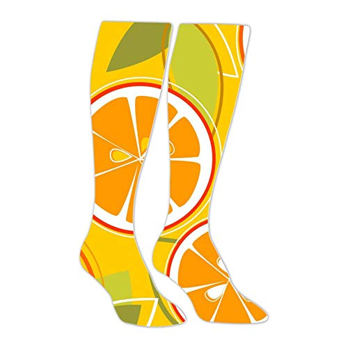 Knee High Stockings Orange Graphics Long Socks Sports Athletic for Man and Women