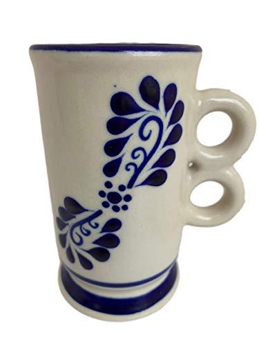 Talavera Capuccino Tall Mug - Hand Painted Mexican Pottery Coffee Mug - Capuccino Latte Coffee and Tea Mug - Taza Alta Classic White