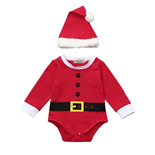 2017 Christmas Infant Baby Boy Girls Santa Suit Outfits Cute Romper Bodysuit+Hat Clothes Set (0-6M, Red)