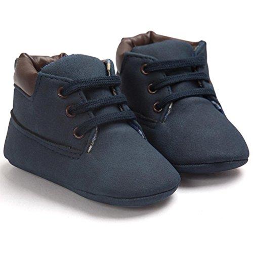 Zapatos Bebé,Xinantime Niña Niño Zapatos de Cuero Artifical Suave Invierno (17, Khaki) Azul Oscuro1