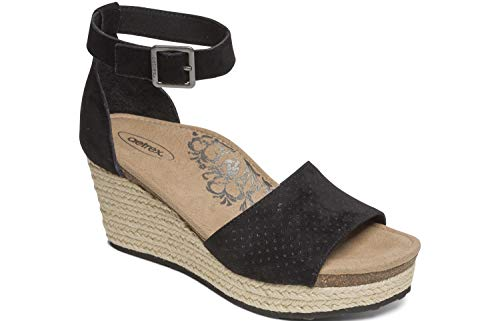 Aetrex Miley Womens Leather Ankle Strap Espadrille Wedges - Black - 39 (US - Black Aetrex Shoes