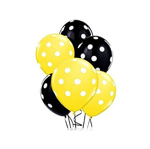 Sopeace 12 Inch Latex Balloons with White Polka Dots,  Yellow & Black -