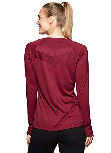RBX Active Women's Long Sleeve Crew-Neck T-Shirt with Mesh Mesh Red M