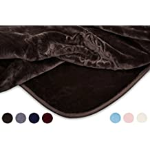 VIVALON Embossed Solid Color Ultra Silky Soft Heavy Duty Quality Korean Mink Reversbile Blanket 9 lbs King Size Black Bean Brown