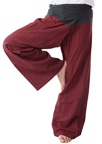 Thai Fisherman Pants Men's Yoga Trousers Black and Red 2 Tone Pant by MEMITR