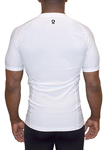 Optimal Human - A Premium Standard Short Sleeve Compression Shirt | Rash Guard | Base Layer (Large, White)