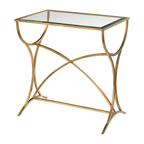"Uttermost 24796 Sarette - 26"" Accent Table, Antiqued Gold Leaf Finish with Beveled Glass"