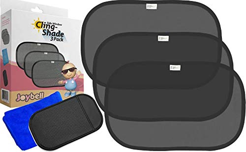 Car Window Shade 3 Pack by Joybell | 80 GSM Blocks 98% UV Light and Heat | Sun Shade for Baby, Kids, Passengers, Pets. | No Suction Cups | Easy to Install | Easy to Adjust