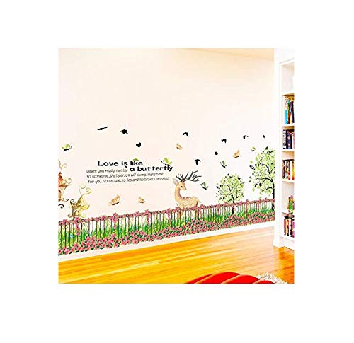 Fence Moose - Wall Stickerfresh Paster Fence, Flower Nursery Moose Kick Line Wall Paste Bedroom Living Room