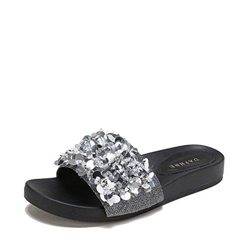 Sandalias de verano planas/Sandalias de diamantes de desgaste de moda A