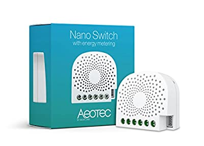 Aeotec Nano Switch on/off controller with power metering, Z-Wave Plus In?-Wall Smart Switch for Home Automation, ZW116 15A Neutral Required, works with Alexa