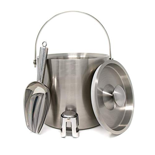 - Scheer Essentials Stainless Steel 3 Liter Double Wall Insulated Ice Bucket with Lid - Bonus Ice Scooper and Champagne Topper Set