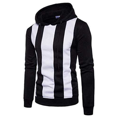 FORUU Men Long Sleeve Hoodie Stitching Color Coat Jacket Outwear Sport Tops BK XXXL ()