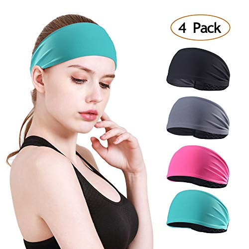 Athletic Headband - MOSTEP Women Non-Slip Stretchy Headband, Moisture Wicking and Breathable Sport Sweatband| Fashion Athletic Headband for Yoga, Running, Workout, Cycling, Cross fit for Women& Girl