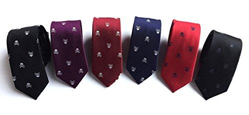 MENDENG Men's Lot 6 PCS Skull Crossbones Necktie Polyester Jacquard Skinny Tie